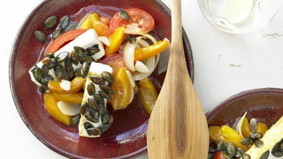 Rezept: Tofuschnitten mit Kürbiskernen