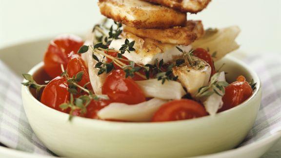 Rezept: Tomaten-Fenchel-Gemüse mit gebratenem Feta