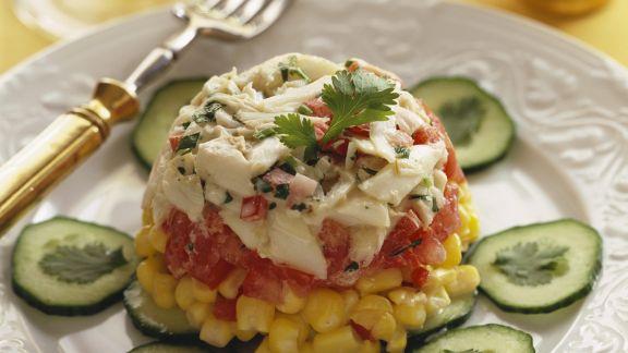 Rezept: Tomaten-Mais-Kuppel mit Gurkenscheiben