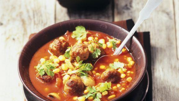 Rezept: Tomaten-Mais-Suppe mit Hackbällchen