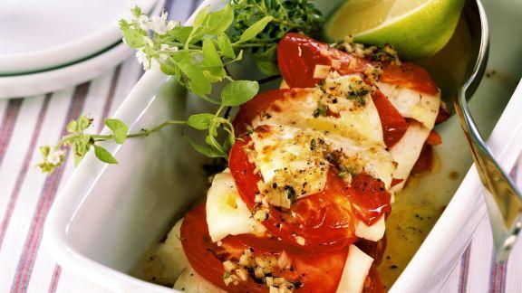 Rezept: Tomaten und Schafskäse im Ofen gebacken