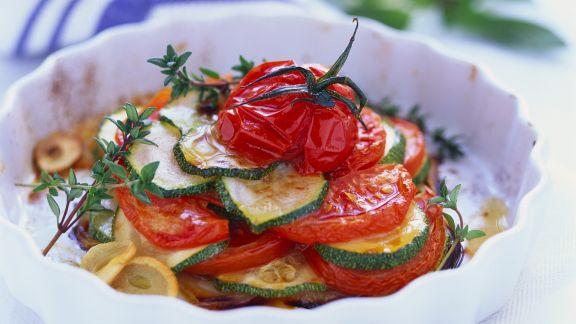 Rezept: Tomaten-Zucchini-Auflauf mit Knoblauch