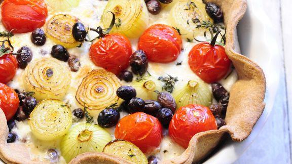 Rezept: Tomaten-Zwiebel-Quiche mit Oliven