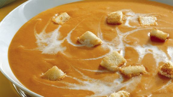 Rezept: Tomatencremesuppe mit Croutons