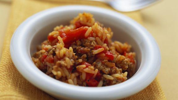 Rezept: Tomatenreis mit Hackfleisch