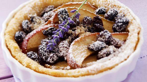 Rezept: Tortelett mit Apfel, Sultaninen und Lavendel