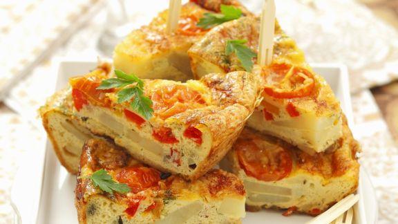 Rezept: Tortilla mit Paprika und Tomaten