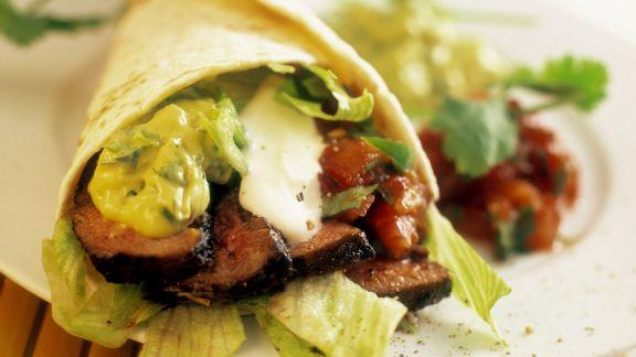 Rezept: Tortilla mit Rindfleischstreifen und Guacamole
