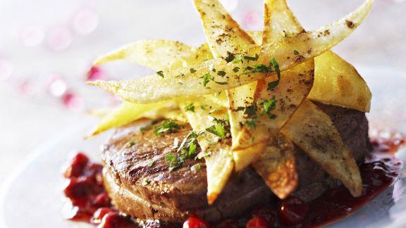 Rezept: Tournedos mit Kartoffelhobeln und Cranberries