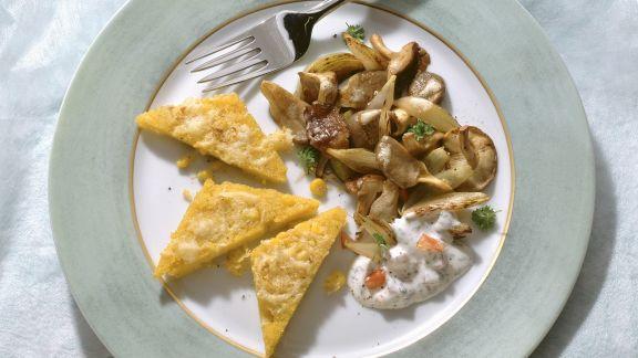 Rezept: Überbackene Polenta mit Pilzen