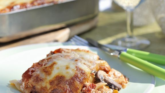 Rezept: Vegetarische Lasagne mit Pilzen, Auberginen, Paprika und Ricotta