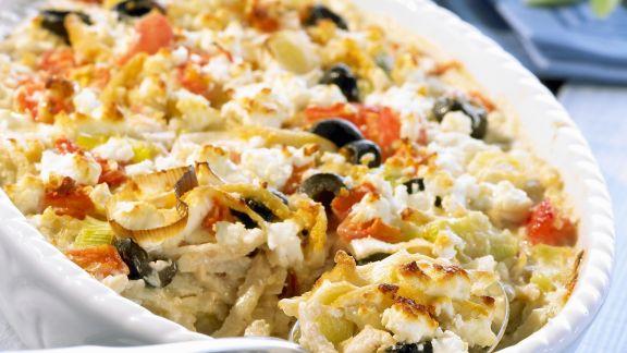 Rezept: Vegetarischer Auflauf mit Feta, Lauch und Sojastreifen