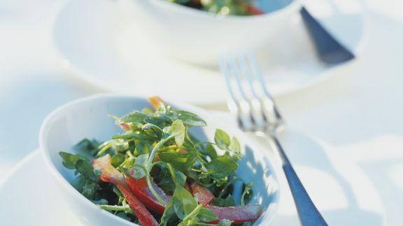Rezept: Vogelmiere-Paprika-Salat