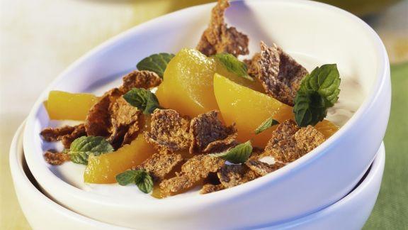Rezept: Vollkornflakes mit Pfirsich