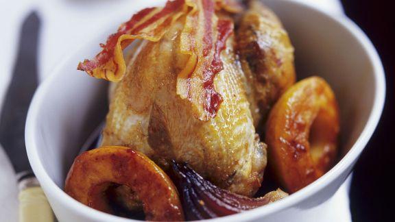 Rezept: Wachtel mit Bacon und Pfirsich