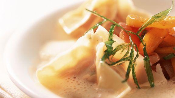 Rezept: Wan-Tan mit Hummer dazu Tomatenkompott