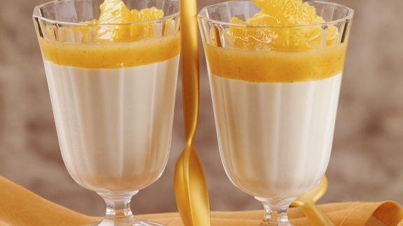 Rezept: Weiße Mokkacreme mit Orangensoße