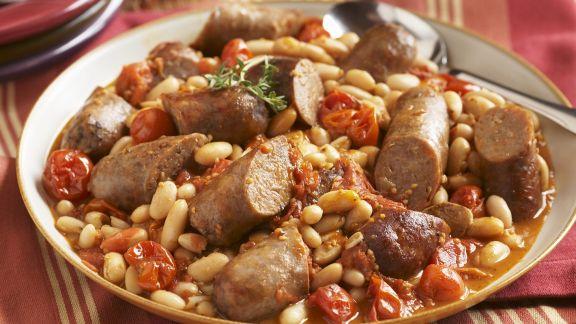 Rezept: Weißer Bohneneintopf mit Putenwurst und Tomaten