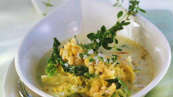 Rezept: Weizensuppe mit Wirsing
