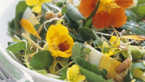 Rezept: Wildkräutersalat mit Essblüten und Eiern