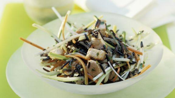 Rezept: Wildreispfanne mit Gemüse und Hähnchenfleisch