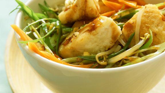 Rezept: Wok-Gemüse mit Seelachs