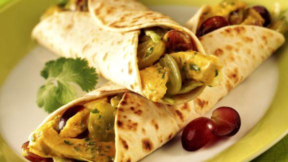 Rezept: Wrap mit Hähnchencurry und Trauben