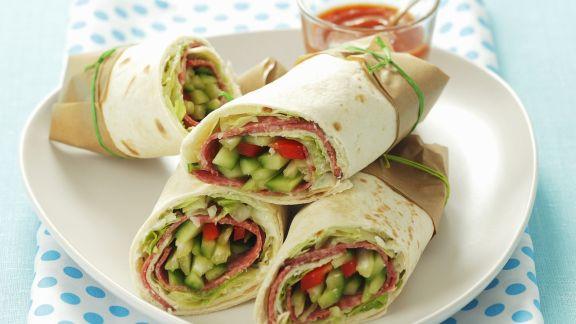 Rezept: Wraps mit Gemüse und Salami