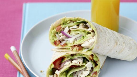 Rezept: Wraps mit Hähnchen, Salat und Avocado