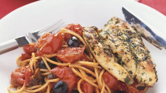 Rezept: Würzige Hähnchenbrust und Spaghetti mit scharfer Soße