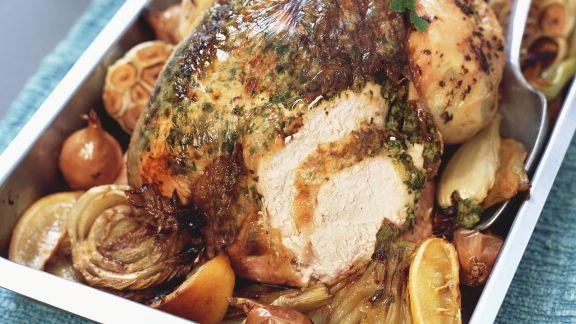 Rezept: Würziges Hähnchen mit Fenchel, Zitrone und Ingwer