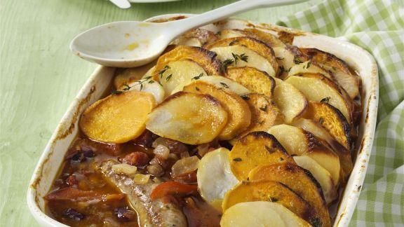 Rezept: Wurst-Kartoffel-Gratin (Sausage Hotpot)