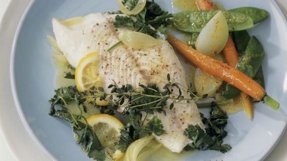 Rezept: Zander mit gemischtem Gemüse und Safranbutter