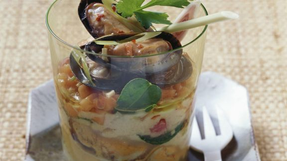 Rezept: Zitronengras-Muscheln mit Papaya