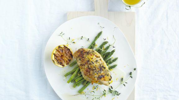 Rezept: Zitronenhähnchen mit grünem Spargel