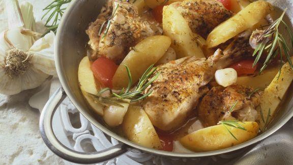 Rezept: Zitroniges Hähnchen mit Kartoffeln und Tomaten