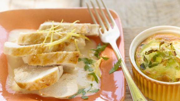 Rezept: Zitroniges Hähnchen mit Porreeflan