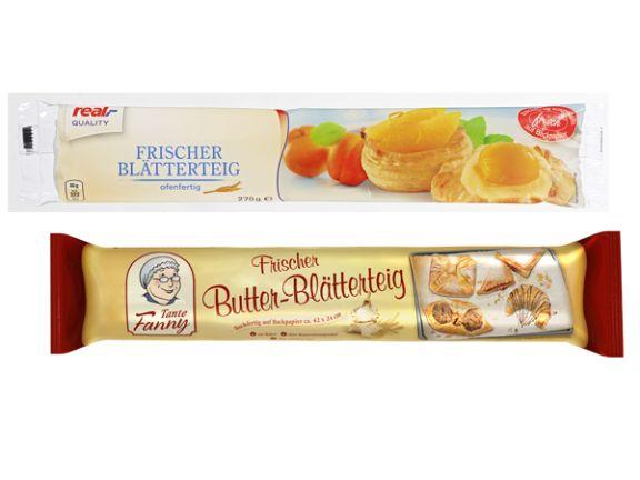 """""""Frischer Blätterteig"""" von Real Quality und """"Butter-Blätterteig"""" von Tante Fanny"""