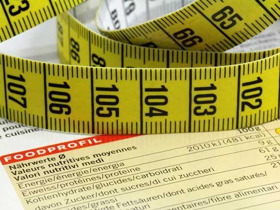 Maßband auf einer Kalorientabelle