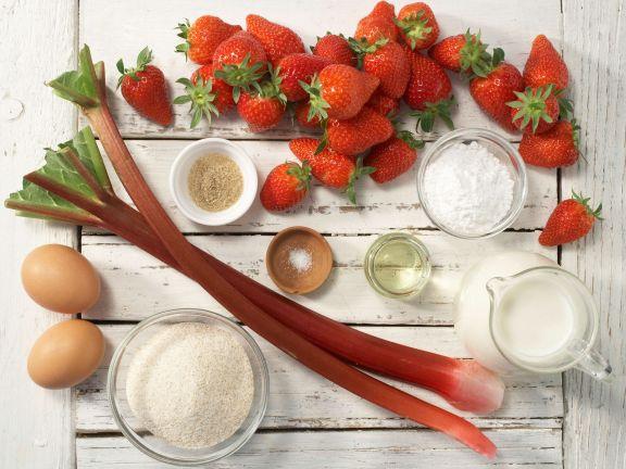 Grießpfannkuchen mit Rhabarber