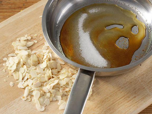 Zucker wird durch Hitze karamellisiert.