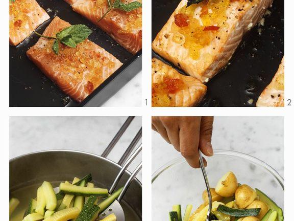 lachs mit senffr chten zucchini kartoffel gem se zubereiten rezept eat smarter. Black Bedroom Furniture Sets. Home Design Ideas