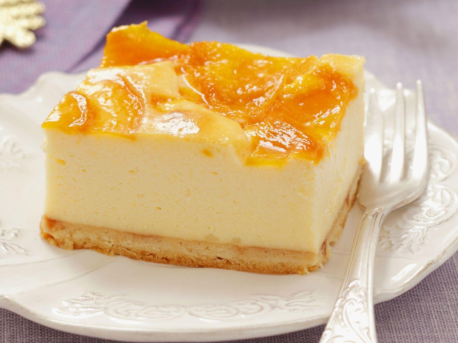 Quarkkuchen mit pfirsich