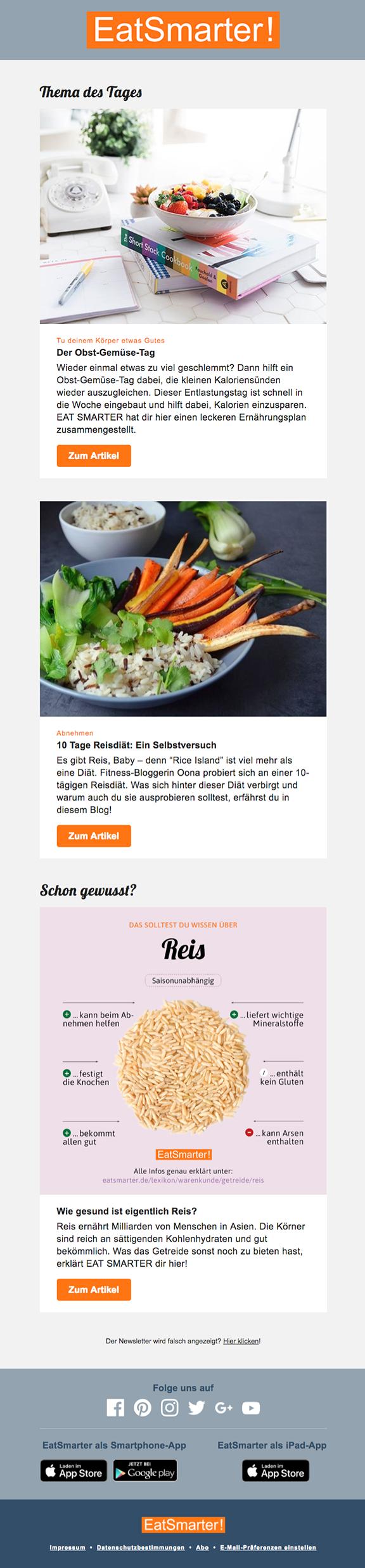 Newsletter-Vorschau: Smarte Ernährung