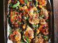 Aprikosen-Hähnchen mit Kapern und grünen Oliven Rezept