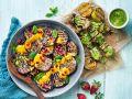 Auberginen mit Pilz-Tofu-Spießen Rezept