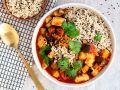 Auberginen-Tomaten-Hähnchen-Curry mit Sesamreis Rezept