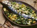 Gebackener Fisch und Gemüse Rezept