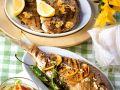 Gegrillte Brasse mit Zitronen & Brassenhälften mit Knoblauch Rezept