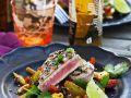 Gegrillter Thunfisch mit Gemüse-Mango-Pfanne Rezept